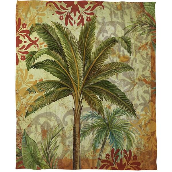 Palms Green Coral Fleece Throw