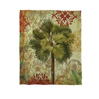 Palms Pattern IV Coral Fleece Throw