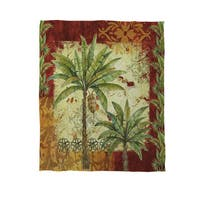 Palms Bordered Coral Fleece Throw