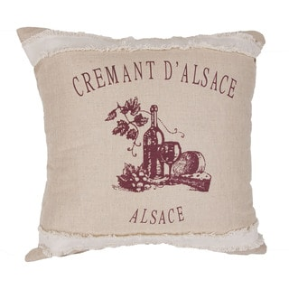 Handmade Arts and Craft Jute Ivory/Red 22-inch Throw Pillow