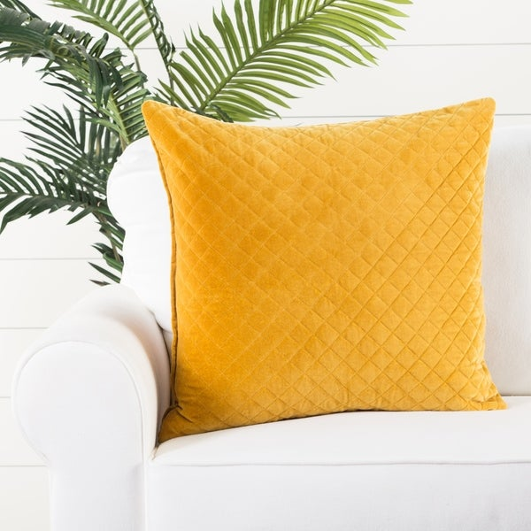 Handmade Solid Yellow 22-inch Throw Pillow