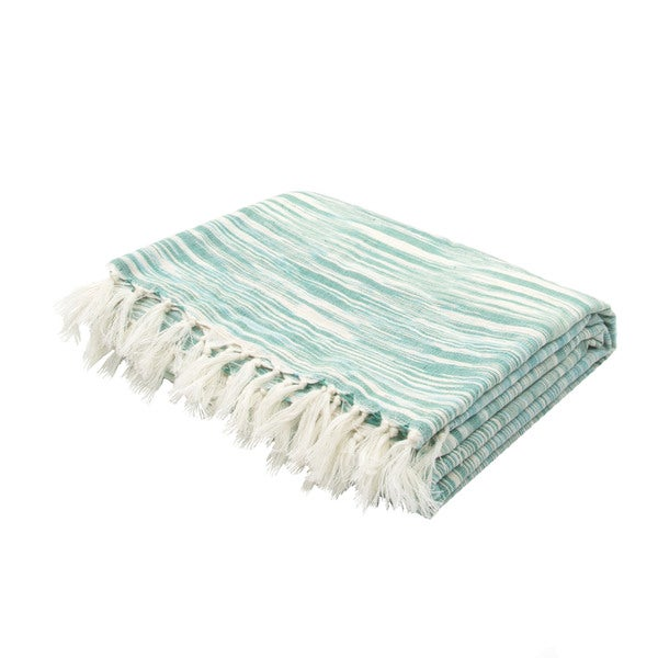"Handmade Cotton Green (50""x60"") Throw"