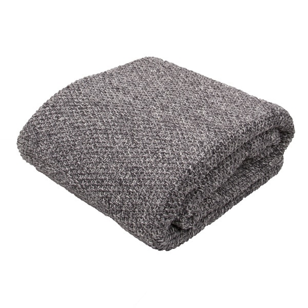 "Handmade Cotton Grey (50""x60"") Throw"