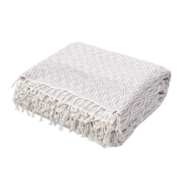 "Handmade Cotton Grey (50""x60"") Throw - 50 x 60"