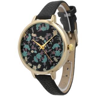 Olivia Pratt Women's Dainty Floral Skinny Leather Band Watch