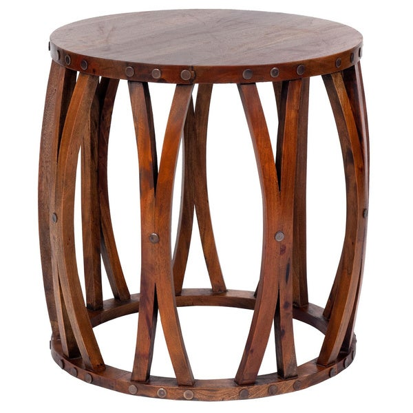 Decorative Hebo Casual Round Accent Table Tan Free