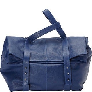 Deleite by Sharo Blue Oversized Argentine Leather Clutch Handbag
