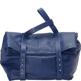 Deleite by Sharo Blue Oversized Argentine Leather Clutch Handbag