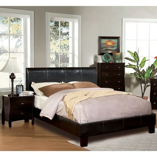 Furniture of America Villazo Espresso 2-piece Bed and Nightstand Set
