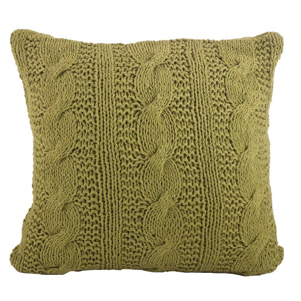 Shop Solid Cotton Cable Knit Design Throw Pillow On Sale Free
