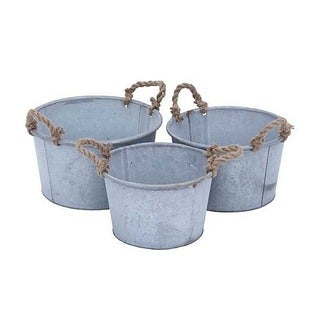 Antiqued Metal Planter (Set of 3)
