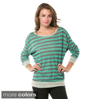 Women's Striped Banded-bottom Sweatshirt