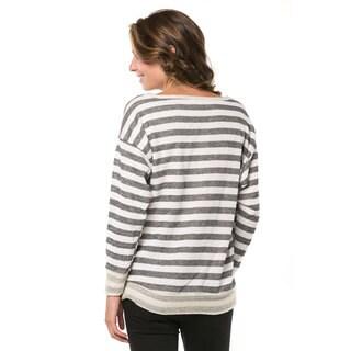 Women's Striped Banded-bottom Sweatshirt