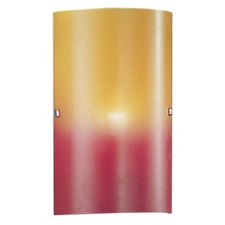 Matte Nickel Finish Red and Orange Glass Wall Sconce