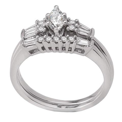 Avanti 14k White Gold 1/2ct TDW Diamond Marquise and Baguette Bridal Ring Set