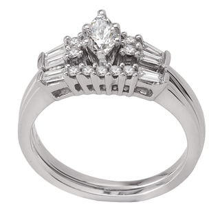 Avanti 14k White Gold 1/2ct TDW Diamond Marquise and Baguette Bridal Ring Set (G-H, SI1-SI2)