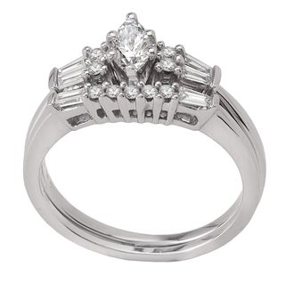 Avanti 14k White Gold 1/2ct TDW Diamond Marquise and Baguette Bridal Ring Set
