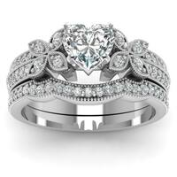 14k White Gold 4/5ct TDW Heart Shaped Diamond Butterfly Engagement Ring Certified by Fascinating Dia