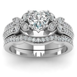 14k White Gold 4/5ct TDW Heart Shaped Diamond Butterfly Engagement Ring Certified by Fascinating Dia (3 options available)