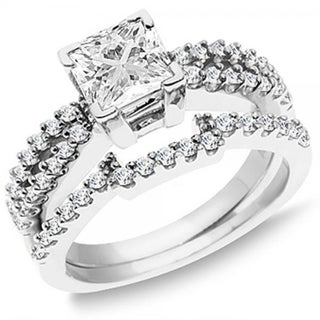 14k White Gold 1 1/2ct TDW Princess and Round Diamond Split Shank Bridal Ring Set (H-I, I2-I3)