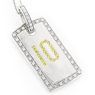 Luxurman 14k White Gold 1 3/5ct TDW Yellow and White Diamond Number 10 Dog Tag Necklace (H-I, SI1-SI