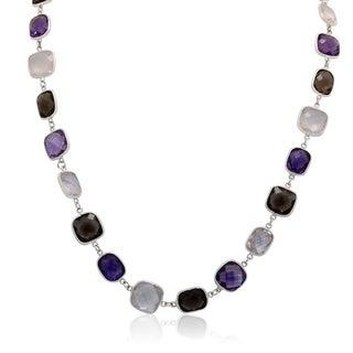 Gioelli Sterling Silver Briolette Gemstone Pattern Link Necklace