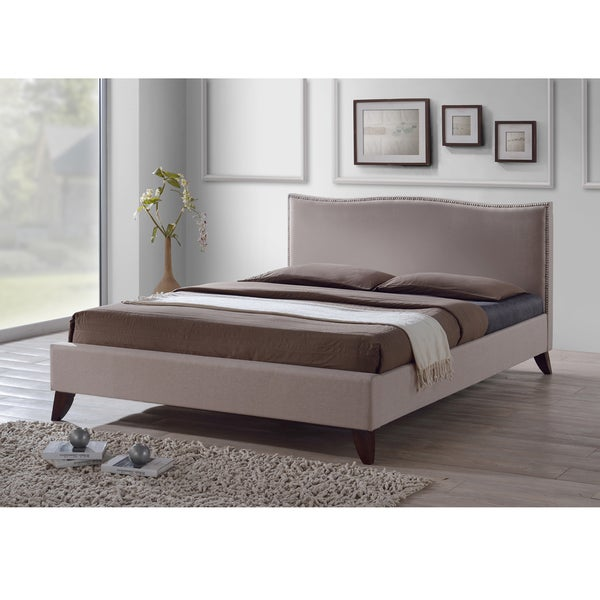 Battersby Brown Modern Bed with Upholstered Headboard  Full/Queen Size
