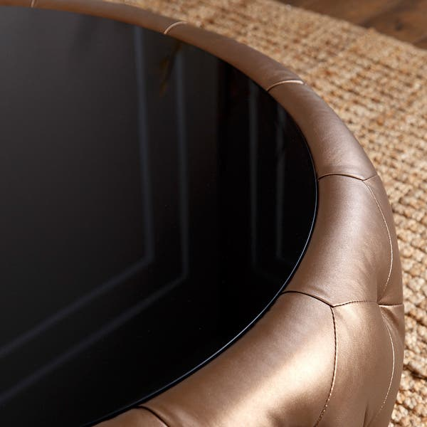 Abbyson Havana Golden Brown Leather Round Coffee Table