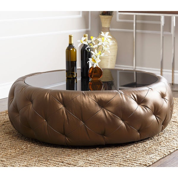 abbyson havana golden brown leather round coffee table - free