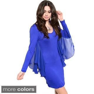 Shop The Trends Women's Soft Chiffon Batwing Design Bodycon Short Dress