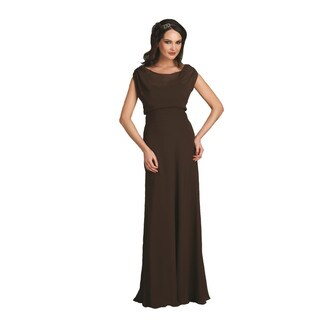 Bari Jay Women's Chiffon Boatneck A-line Evening Dress
