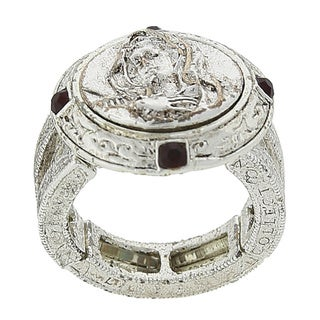 Silver-Tone Red Crystal Round Mary Stretch Ring