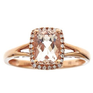 Anika and August 10K Rose-gold Cushion-cut Morganite and 1/8ct. TDW Diamond Ring (G-H, I1-I2)