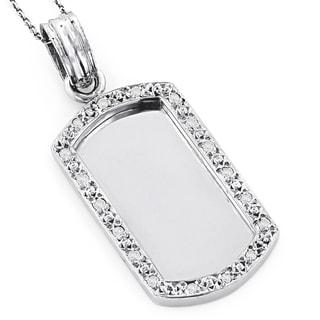 Luxurman 14K White Gold 1/5ct. TDW Diamond Dog Tag Pendant