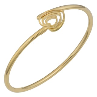 Fremada 14k Yellow Gold High Polished Heart Bypass Bangle
