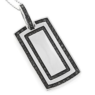 Luxurman 14K White Gold Dog Tag Pendant with 1 1/3ct. TDW Black Diamonds