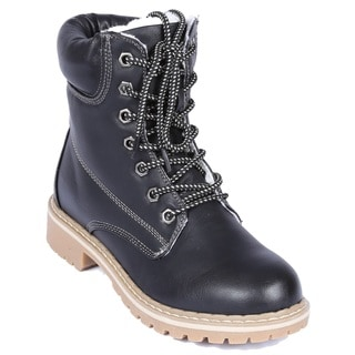 Women's Broadway-2 Faux Leather Fur Lining Ankle-high Combat Boots