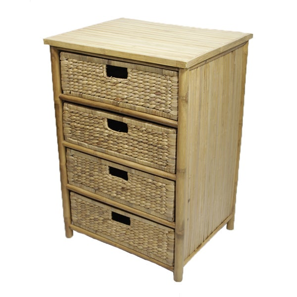 Heather Ann 4-drawer Water Hycinth and Bamboo Cabinet