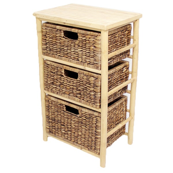 Heather Ann 3 Drawer Open Frame Bamboo Cabinet