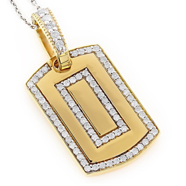 Luxurman 14k gold dog tag pendant with 78ct tdw round diamonds luxurman 14k gold dog tag pendant with 78ct tdw round diamonds aloadofball Choice Image