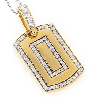 Luxurman 14K Gold Dog Tag Pendant with 7/8ct TDW Round Diamonds