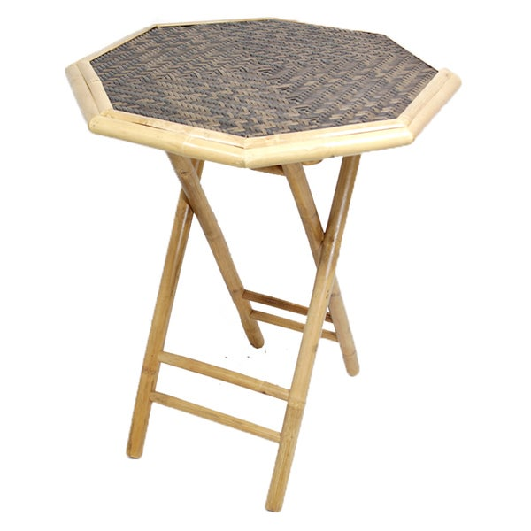 Heather Ann Bamboo Octagon Folding Table   Free Shipping Today    Overstock.com   17216165