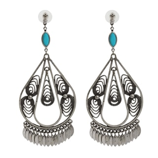 NEXTE Jewelry Antique Silvertone Indian Style Dangle Earrings