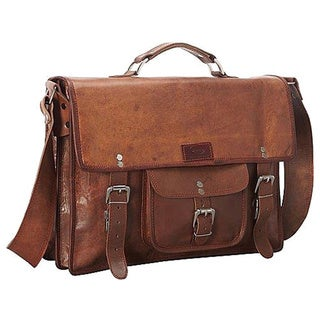 Sharo Leather 15-inch Laptop Messenger Briefcase (Option: Brown)