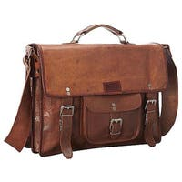 Sharo Leather 15-inch Laptop Messenger Briefcase