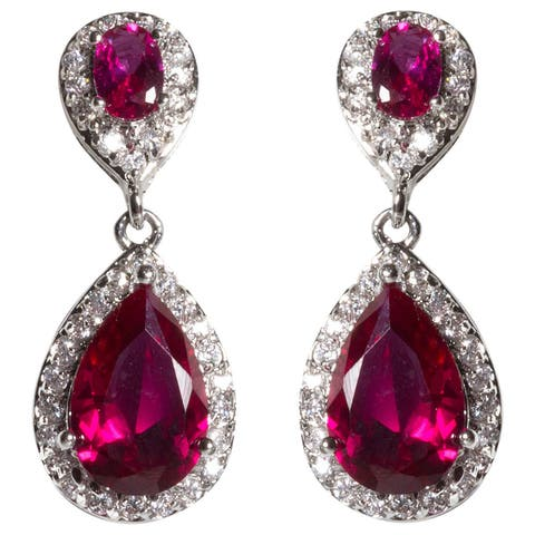 NEXTE Jewelry Silvertone Two-tiered Oval and Pear-cut Cubic Zirconia Cluster Dangle Earrings