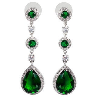 NEXTE Jewelry Triple-tiered Large Pear-cut Cubic Zirconia Dangle Earrings