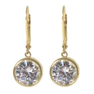 NEXTE Jewelry Extra Large Round Cubic Zirconia Bezel Dangle Earrings