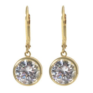 NEXTE Jewelry Extra Large Round Cubic Zirconia Bezel Dangle Earrings