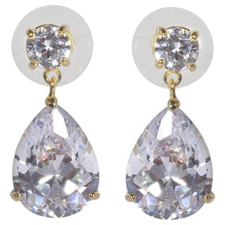 NEXTE Jewelry 3-prong Pear Solitaire Cubic Zirconia Dangle Earrings